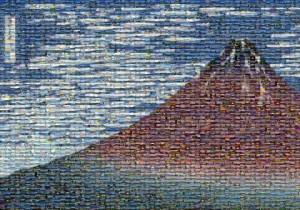223枚の富士山写真で赤富士アートのパネル展示